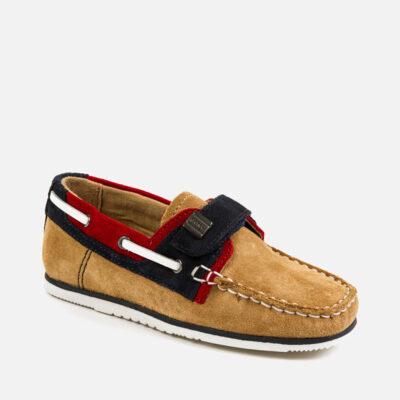 Παπούτσι ναυτικό δέρμα αγόρι-αμμος
